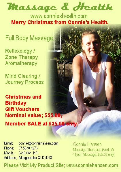 Connies Health, Christmas Massage Gifts.
